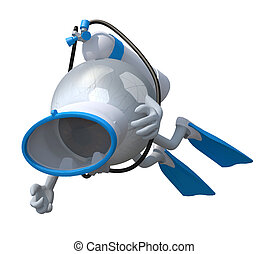 Eyeball with diving goggles and flippers, 3d illustration