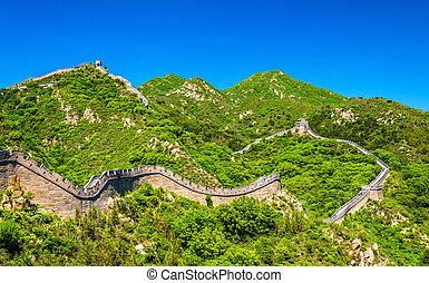 View of the Great Wall at Badaling - China - View of the...