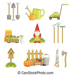 Garden Related Objects Set Of Simple Realistic Bright Flat...