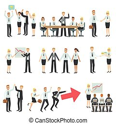 Teamwork In Business Work Process And Building Infographic