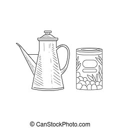 Can Of Olives And Old-school Pitcher Hand Drawn Realistic Sketch