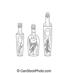 Olive Oil With Herbs Assortment Hand Drawn Realistic Sketch
