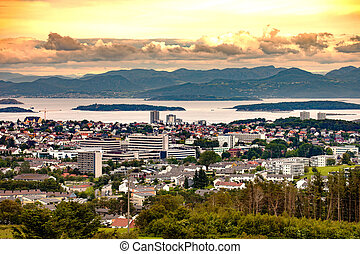 City of Stavanger - Panoramic view city of Stavanger in...