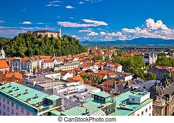 City of Ljubljana aerial view, capital of Slovenia