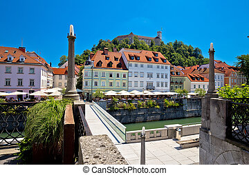 City of Ljubljana river waterfront architecture, capital of...