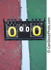 volleyball scoreboard on the cement floor