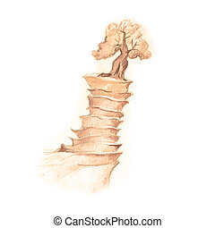 Fantastic mountain, drawing with fantasy tree in sepia pensil.