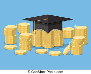Graduation hat on stack of golden coins.