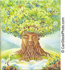 tree of wisdom, oil painting, suit for poster, print, wallpaper, backgroung, as illustration. Fantasy picture. Fantastic illustration. Magic story