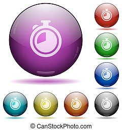 Timer glass sphere buttons - Set of color Timer glass sphere...