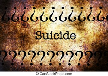 Suicide text on grunge background