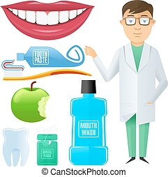 Vector flat dental icon - Vector set into flat style on...