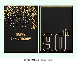 Anniversary Outline card gold - Vector Illustration of...