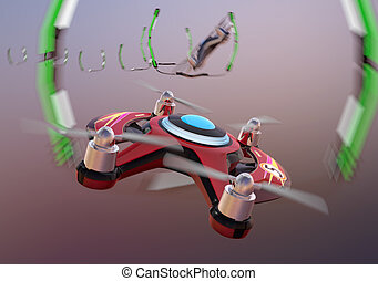 Racing drones chasing in the sky. 3D rendering image.