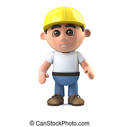 3d Construction worker stands ready - 3d render of a...