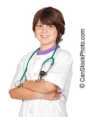 Adorable boy with clothes of doctor isolated on white