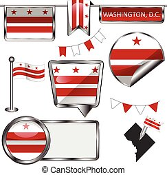 Glossy icons with flag of Washington DC - Vector glossy...