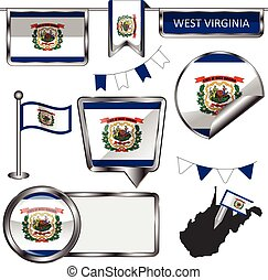 Glossy icons with flag of state West Virginia - Vector...