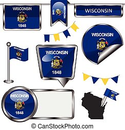 Glossy icons with flag of state Wisconsin - Vector glossy...