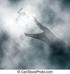 Crocodile attacking monkey - Editable vector illustration of...