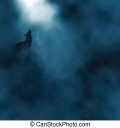 Moonlight wolf howling