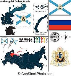 Arkhangelsk Oblast, Russia - Vector map of Arkhangelsk...
