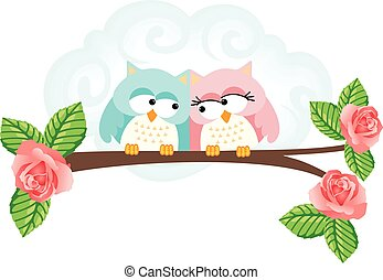 Couple in love owls on branch