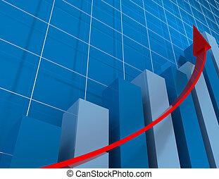 3d financial graph stat . busines concept