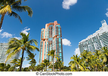 Luxury Architectural flat building Miami Style South Beach Florida