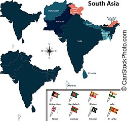 Political map of South Asia
