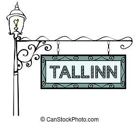 Tallinn retro vintage pointer lamppost. Tallinn Capital...
