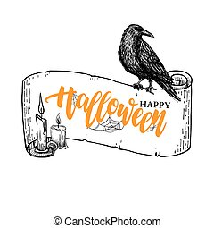 Happy Halloween vector banner with lettering and ribbon, candle and raven drawing