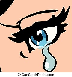 Close-up blue eyes, a woman crying, pop art retro vector...