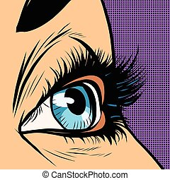 Close-up blue woman eye looks to right pop art retro vector...