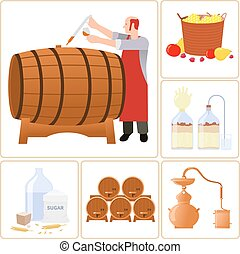 Moonshine and whiskey. - Vector flat icons - production of...