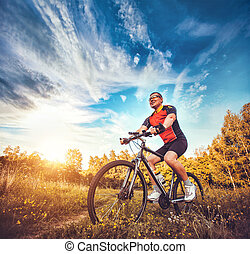 man with bike enjoy summer vacation - Mountain biking - man...