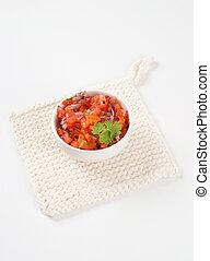 fresh salsa Mexicana - bowl of pico de gallo, also called...