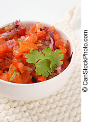 fresh salsa Mexicana - bowl of pico de gallo, also called...