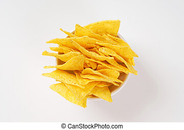 crunchy tortilla chips - bowl of triangle shaped tortilla...