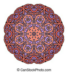 Circular stained glass mandala. Round doodle flower pattern...