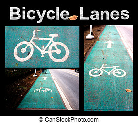 Bicycle Lanes on the road turquoise color paint symbol white...