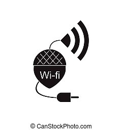 Flat icon in black and white Wi fi modem - Flat icon in...