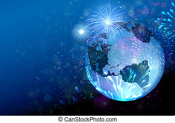 Fireworks on the earth globe