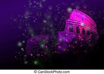 Fireworks over Colosseum - New year Celebratory fireworks...