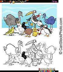 cartoon birds for coloring - Black and White Cartoon...