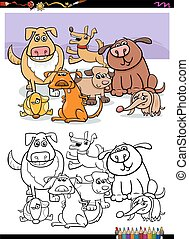 dogs group for coloring