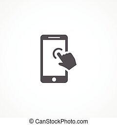 Touch screen Icon - Gray Touch screen Icon on white...