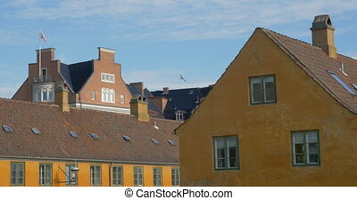 View to the European houses - View to the house roofs and...
