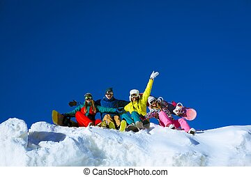 Extreme sports - Young people with snowboards