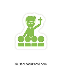 paper sticker on white background priest and people